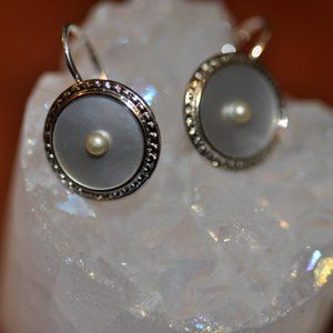 Cultured Pearl & Mother of Pearl Dangle Earrings